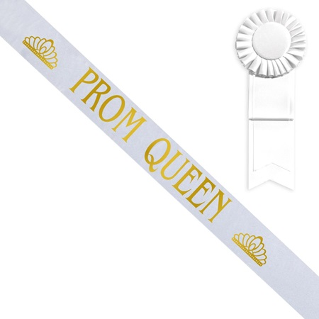 White Prom Queen Sash with Tiara Design