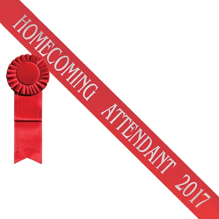 Homecoming Attendant 2017 Sash - Red/Silver Print
