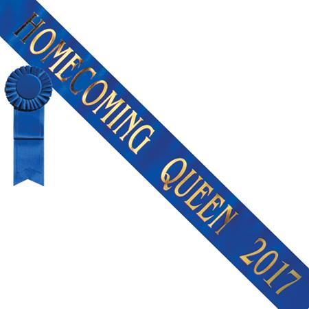 Homecoming Queen 2017 Sash - Blue/Gold Print