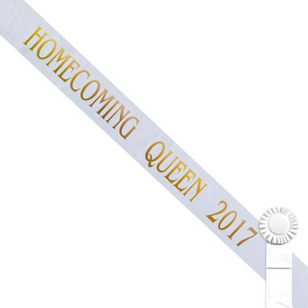 Homecoming Queen 2017 Sash - White/Gold Print