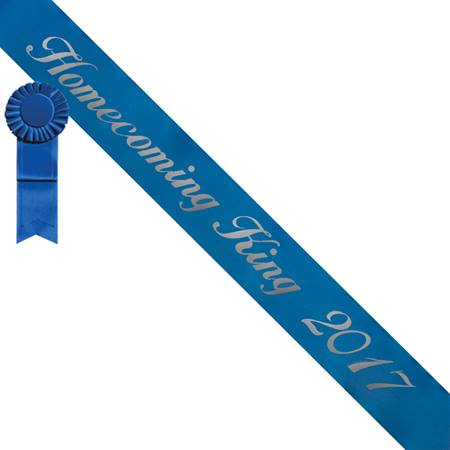 Homecoming King Script Sash and Button Set - Blue