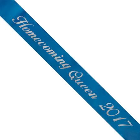 Homecoming Queen 2017 Sash - Blue/Silver Script