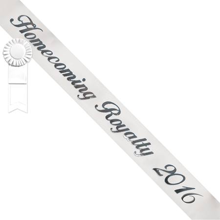 Homecoming Royalty 2017 Sash - White/Silver with White Rosette