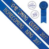 Homecoming King/Queen 2017 Sashes and Buttons Set - Blue/Gold