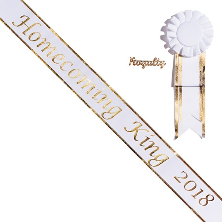 Homecoming King 2018 Sash, Pin, and Rosette Set - White/Gold Edges