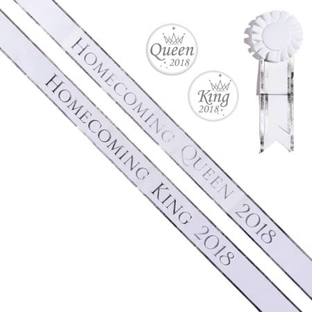 Homecoming King/Queen 2018 Sashes and Buttons Set - White/Silver Edges