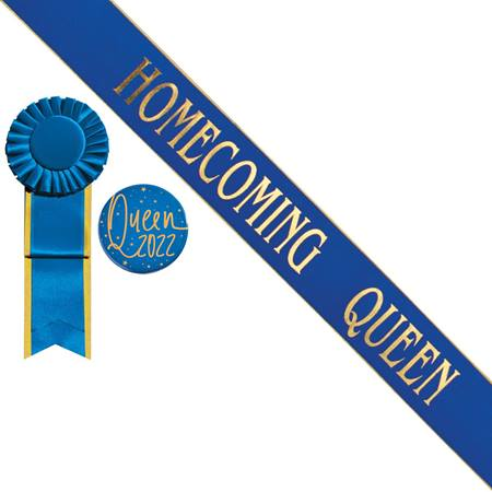 Gold Edge Homecoming Queen Sash and Button Set - Blue