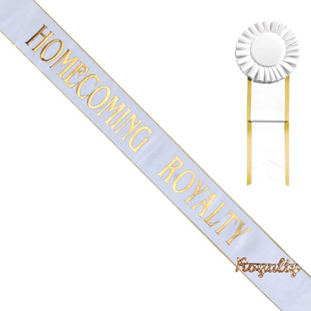 Gold Edge Homecoming Royalty Sash, Pin, and Rosette Set - White/Gold Print