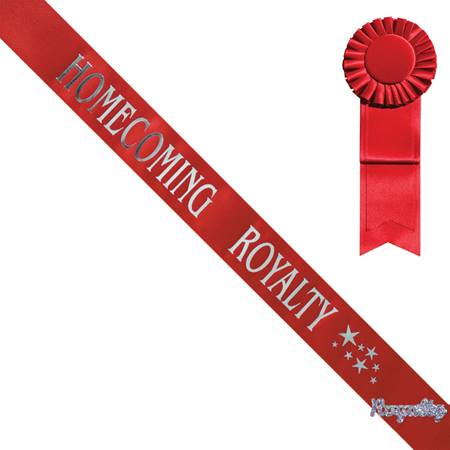 Star Design Homecoming Royalty Sash, Pin, and Rosette Set - Red/Silver Print