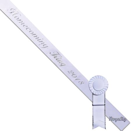 Homecoming King 2018 Sash, Pin, and Rosette Set - White/Silver Script