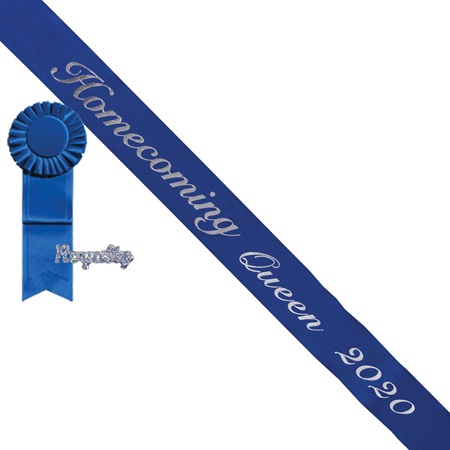 Homecoming Queen 2019 Sash, Rosette, and Pin Set - Blue/Silver Script