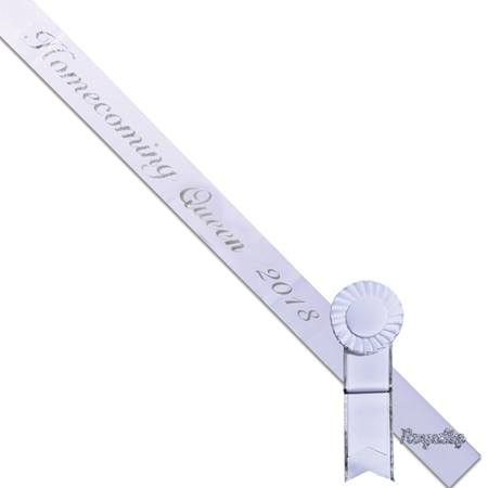 Homecoming Queen 2019 Sash, Pin, and Rosette Set - White/Silver Script