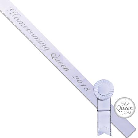 Homecoming Queen 2018 Sash, Button, and Rosette Set - White/Silver Script