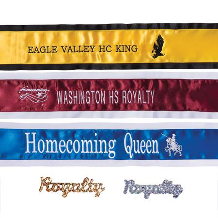 Embroidered Mascot Sash With Royalty Pin - 1-color Edge