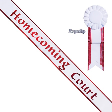 Red Edge Homecoming Court Sash, Pin, and Rosette Set - White/Red Print
