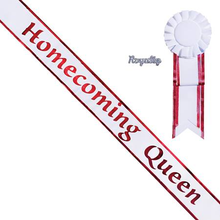 Homecoming Queen Sash with Rosette & Royalty Pin - White/Red Edges