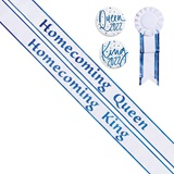 Homecoming King/Queen Sashes and Buttons Set - White/Blue Edges
