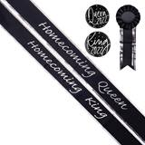 Homecoming King/Queen Sash and Buttons Set - Black/Silver