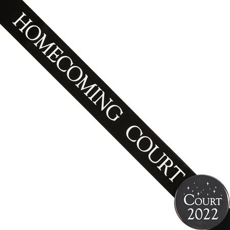Homecoming Court Ribbon Sash and Star Button Set - Black