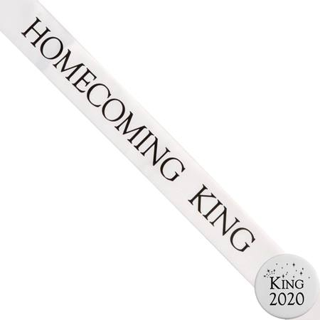 Homecoming King Ribbon Sash and Star Button Set - White