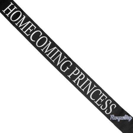 Homecoming Princess Sash with Royalty Pin - Black
