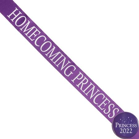 Homecoming Princess Ribbon Sash and Star Button Set - Purple