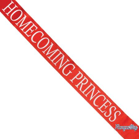Homecoming Princess Sash with Royalty Pin - Red