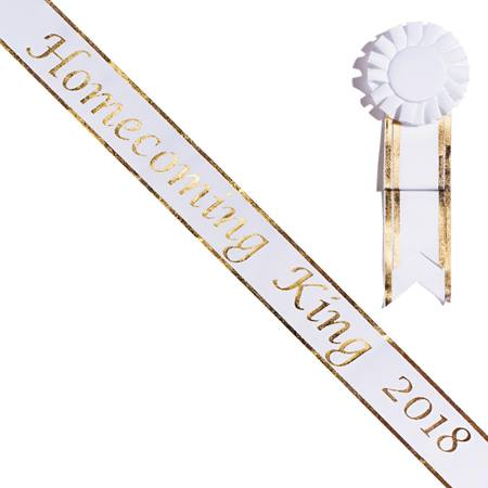 Homecoming King 2018 Sash with Rosette - White/Gold Edges