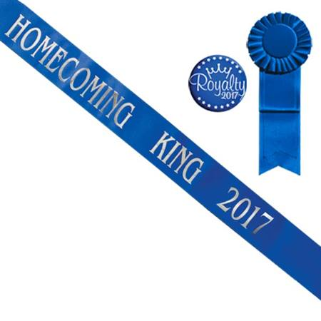 Blue Homecoming King 2017 Sash With Rosette and Button - Silver Print