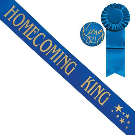 Homecoming King Star Sash and Button Set - Blue/Gold Print