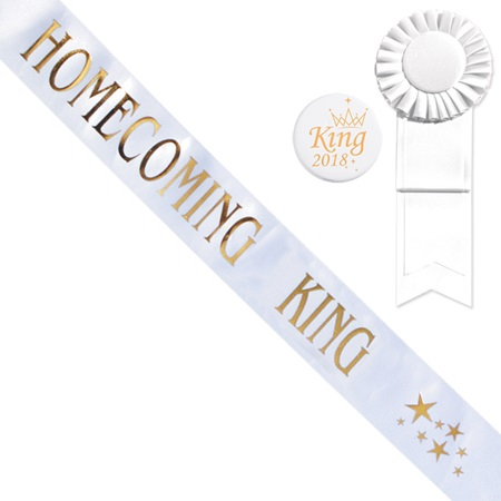 Homecoming King Star Sash and Button Set - White/Gold Print