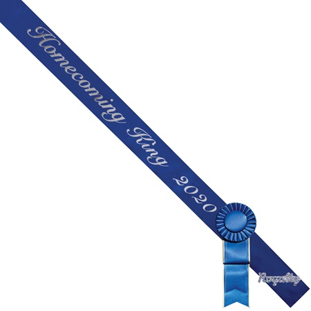 Homecoming King 2019 Sash, Rosette, and Pin Set - Blue/Silver Script