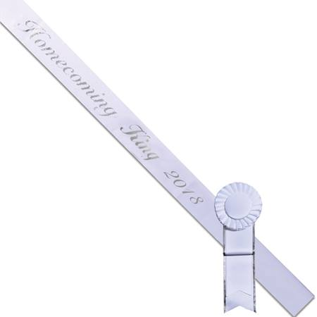 Homecoming King 2018 Sash - White/Silver Script