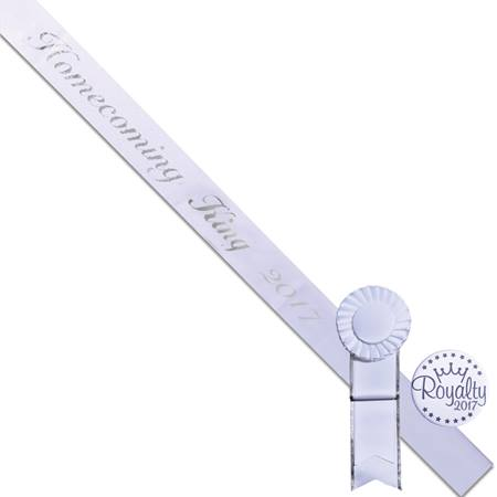Homecoming King Script Sash and Button Set - White
