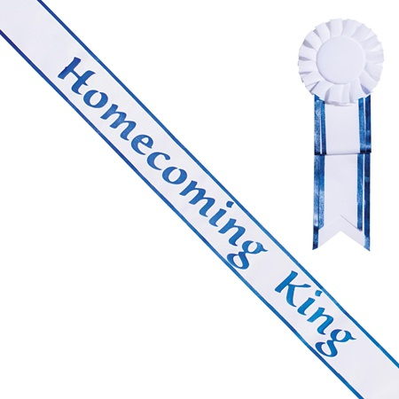 Homecoming King Sash and Rosette - White/Blue Edges