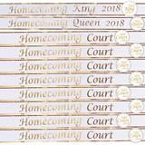 Homecoming Royalty Court Sashes and Buttons Set - White/Gold Foil