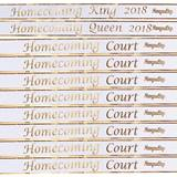 Homecoming Royalty Sashes and Pins Set - White/Gold Foil