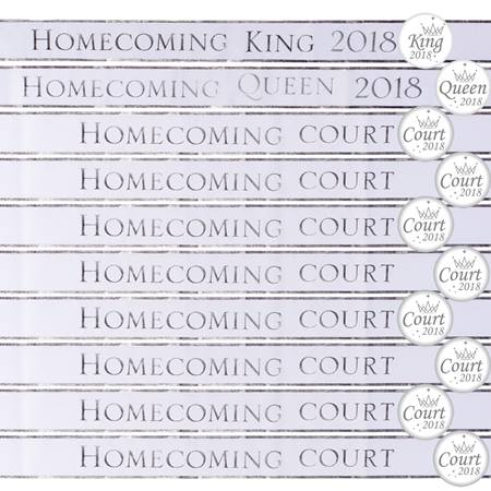 Homecoming Royalty Sashes and Buttons Set - White/Silver Foil