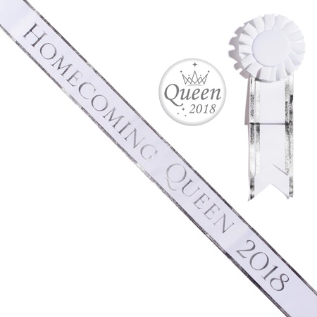 Homecoming Queen 2018 Sash, Button, and Rosette Set - White/Silver Edges