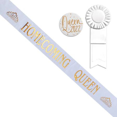 White Homecoming Queen Sash With Tiara Design and Button