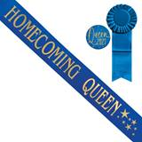Blue Homecoming Queen Sash With Stars Design and Button