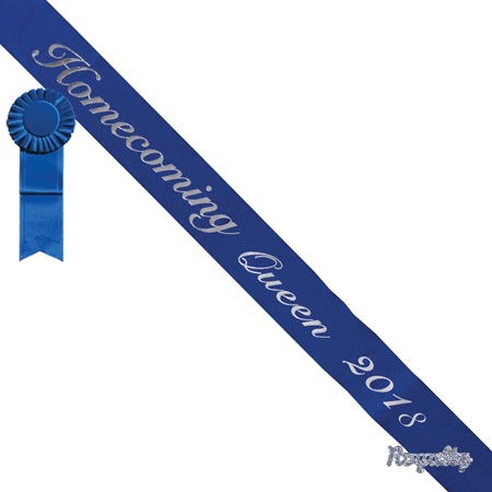 Homecoming Queen 2018 Sash, Pin, and Rosette Set - Blue/Silver Script