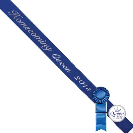 Homecoming Queen 2018 Sash, Button, and Rosette Set - Blue/Silver Script