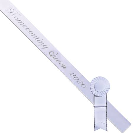 Homecoming Queen 2019 Sash - White/Silver Script