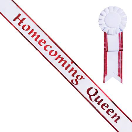 Homecoming Queen Sash and Rosette - White/Red Edges