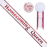 Homecoming Queen Sash with Rosette and Button Set - White/Red Edges