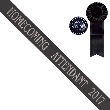 Black Homecoming Attendant Sash With Rosette and Button Set - Silver Print