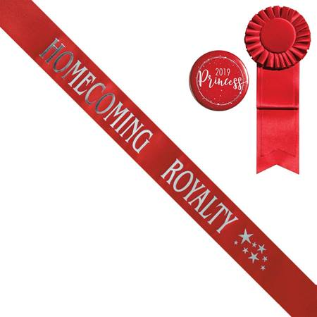 Homecoming Royalty Star Sash, Button, and Rosette Set - Red/Silver Print