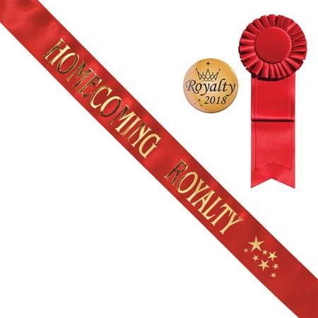 Red Homecoming Royalty Sash With Stars Design and Button