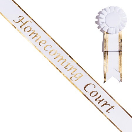 Homecoming Court White Sash with Rosette - Gold Edges